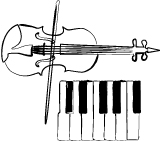 Illustration of a keyboard and a violin