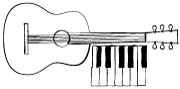 Illustration of a composition with a keyboard and an acoustic guitar