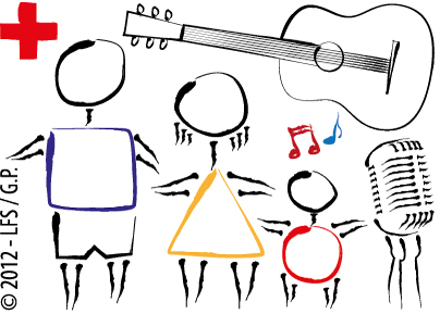 Collage/Illustration of children, music notes, an acoustic guitar, a vintage microphone and a red cross