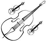 Illustration of a double bass and two violins