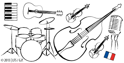 Collage/Illustration of musical instruments (keyboard, guitar, double bass, violins, drums). a vintage microphone and a French flag