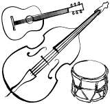 Illustration of a double bass, an acoustic guitar and a drum