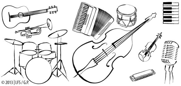 Illustration of musical instruments (double bass, acoustic guitar, trumpet, keyboard, drums, harmonica, accordion, violin, percussion) and a vintage microphone